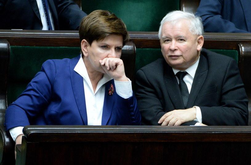 Beata Szydło i Jarosław Kaczyński /Jacek Turczyk /PAP