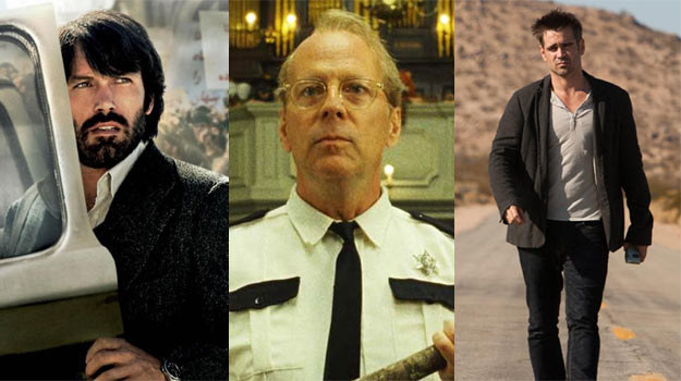 Ben Affleck z brodą, Bruce Willis w okularach... Tylko Colin Farrell jakoś dziwnie znajomy... /materiały dystrybutora