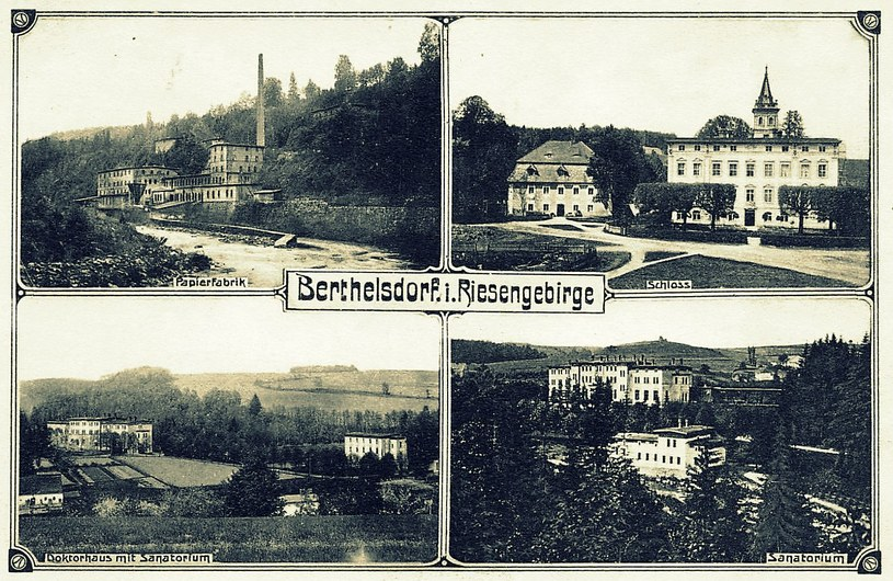 Berthelsdorf w latach 30. XX w – widok ogólny. Po lewej stronie kościół, w tle fabryka z odlewnią. Ze zb. Sz. Wrzesińskiego. /Odkrywca