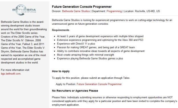 Bethesda szuka specjalistów, którzy w przyszłości będą tworzyć gry na konsole następnej generacji /Informacja prasowa