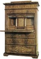 Biedermeier: sekretera mahoniowa, ok. 1850 /Encyklopedia Internautica