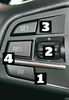 BMW Klawisz [1] to włącznik tempomatu. Pokrętłem [2] można regulować prędkość, przycisk [3] ustala prędkość, a [4] powraca do zapamiętanej prędkości. /Motor