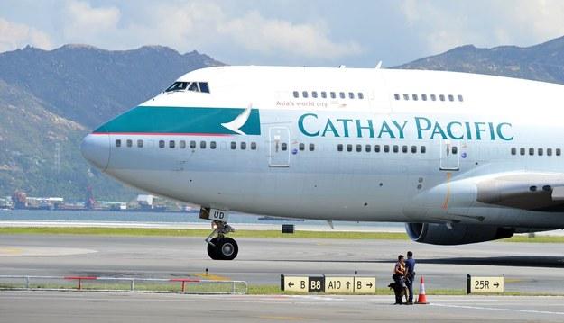 Boeing 747 linii Cathay Pacific na lotnisku w Hongkongu /AFP