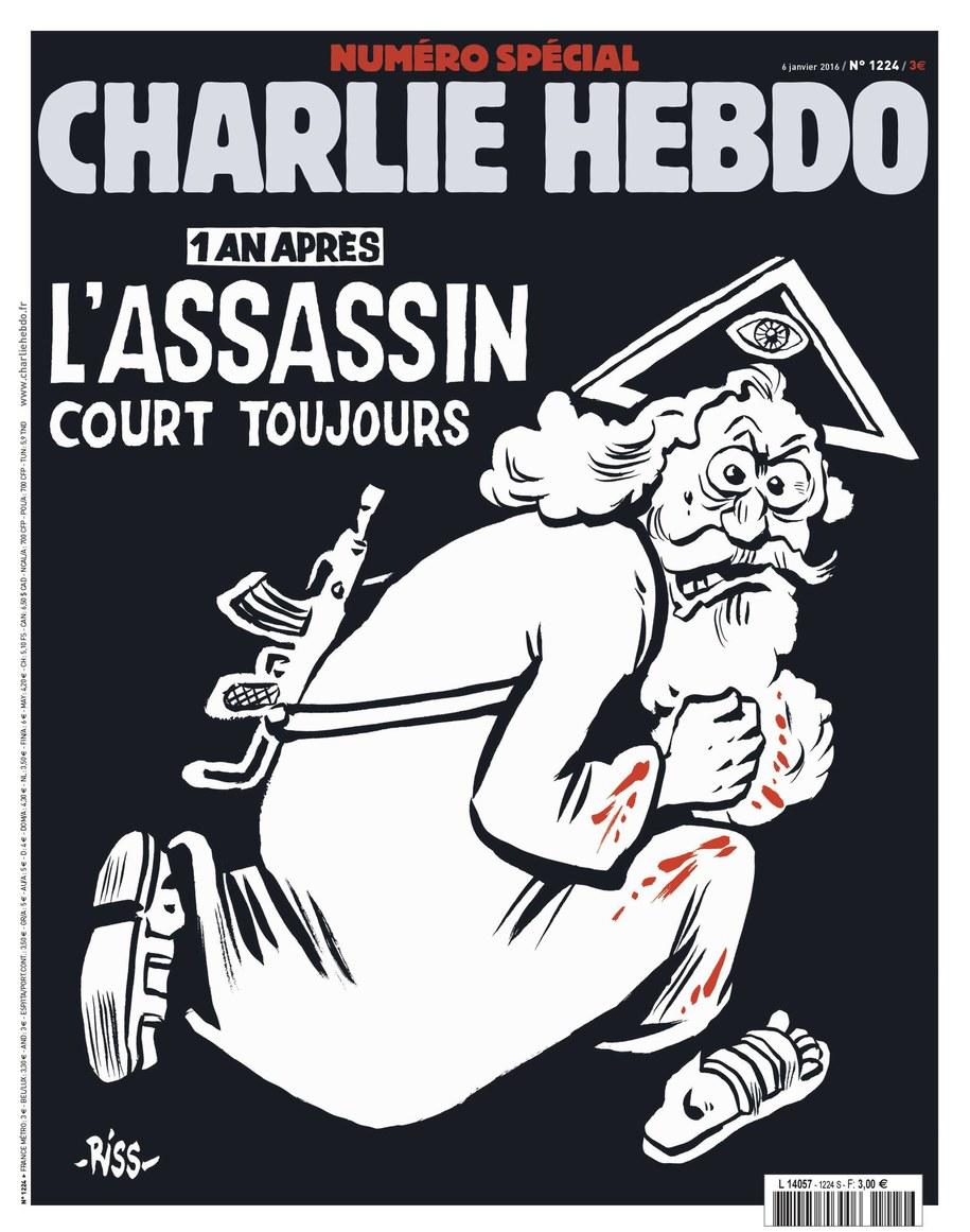 """Bóg z kałasznikowem na pierwszej stronie """"Charlie Hebdo"""" /CHARLIE HEBDO/MAJORELLE PR /PAP/EPA"""