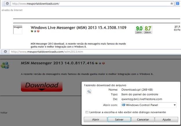 Brazylijska strona WWW z fałszywym pakietem instalacyjnym MSN Messengera oraz fałszywy instalator MSN /materiały prasowe