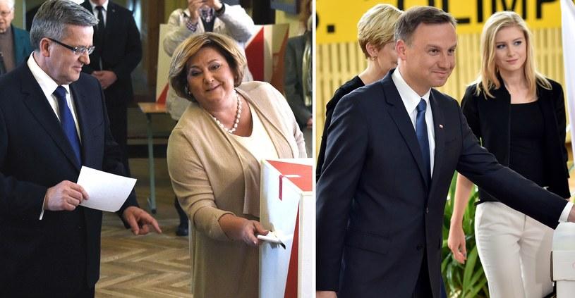 Bronisław Komorowski głosował z żoną, a Andrzejowi Dudzie towarzyszyły żona i córka. Fot. Jacek Bednarczyk/Radek Pietruszka /PAP