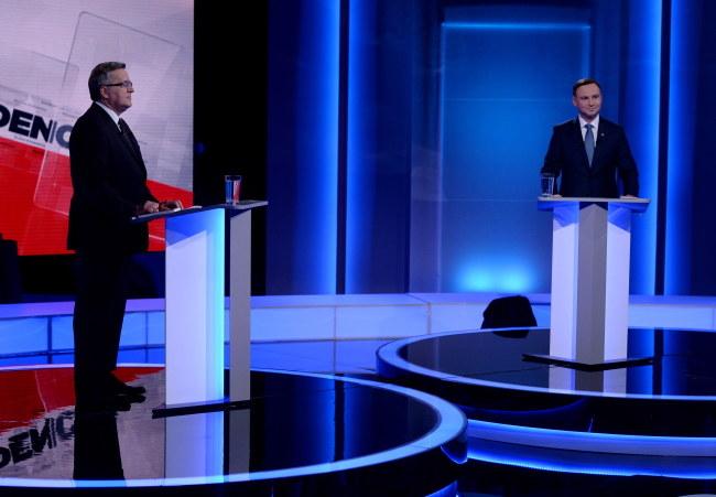 Bronisław Komorowski i Andrzej Duda podczas debaty prezydenckiej /Jan Bogacz /PAP