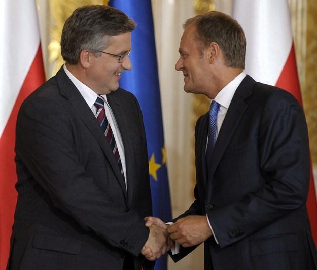 Bronisław Komorowski i Donald Tusk /AFP