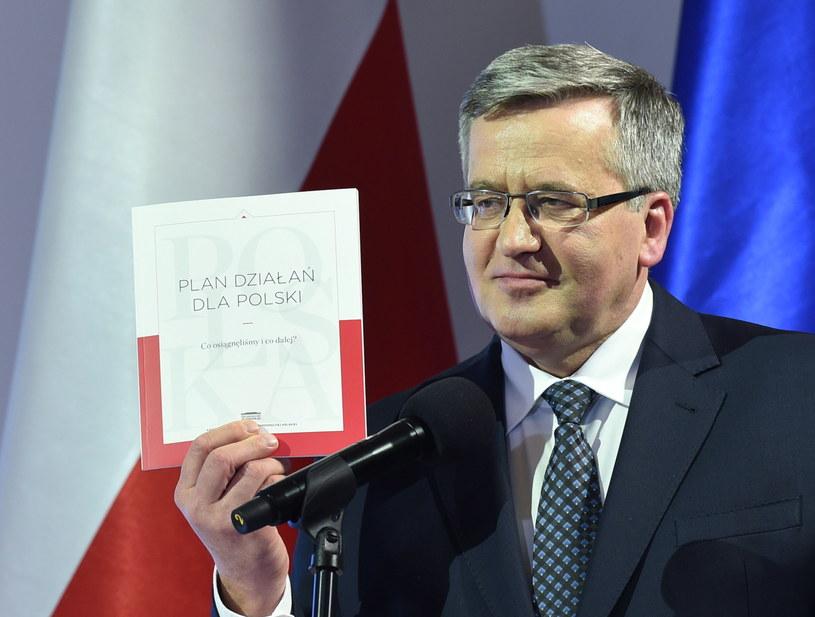 Bronisław Komorowski podczas dzisiejszego wystąpienia /Radek Pietruszka /PAP
