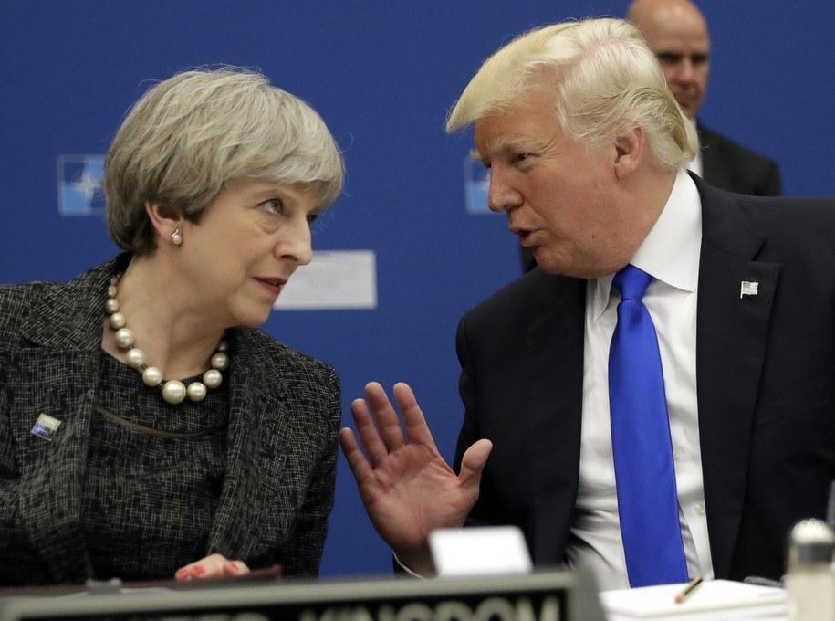 Brytyjska premier Theresa May i prezydent USA Donald Trump podczas szczytu NATO w maju 2017 /MATT DUNHAM/POOL /PAP/EPA