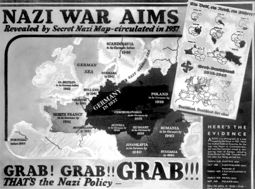 Brytyjski plakat ukazujący plany nazistów /AFP