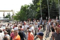 Byli stoczniowcy manifestują w Szczecinie