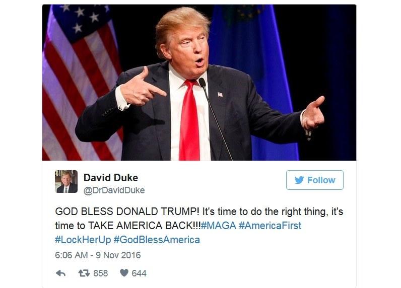 Były lider Ku Klux Klanu gratuluje Trumpowi /Twitter