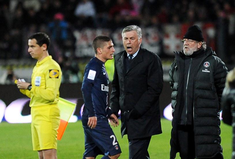 Carlo Ancelotti i Marco Verratti z czasów, gdy włoski trener prowadził PSG /AFP