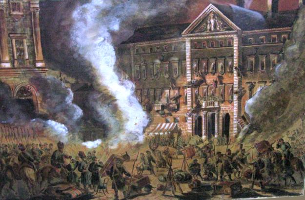 Carscy żołnierze plądrują Pałac Zamoyskich /Wikimedia