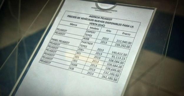 Ceny samochód w salonie Peugeota na Kubie /AFP