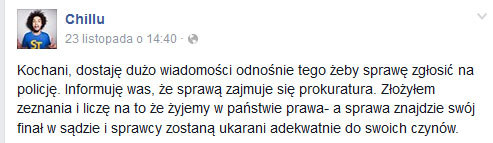 Chillu o pobiciu na Facebooku /