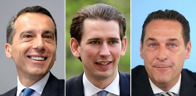 Christian Kern, Sebastian Kurz i Heinz-Christian Strache /THIERRY CHARLIER /AFP