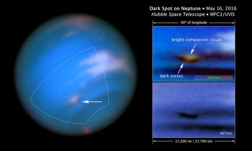 Ciemny wir w atmosferze Neptuna /materiały prasowe