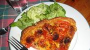 Cieniutka tarta z pomidorami i z chorizo