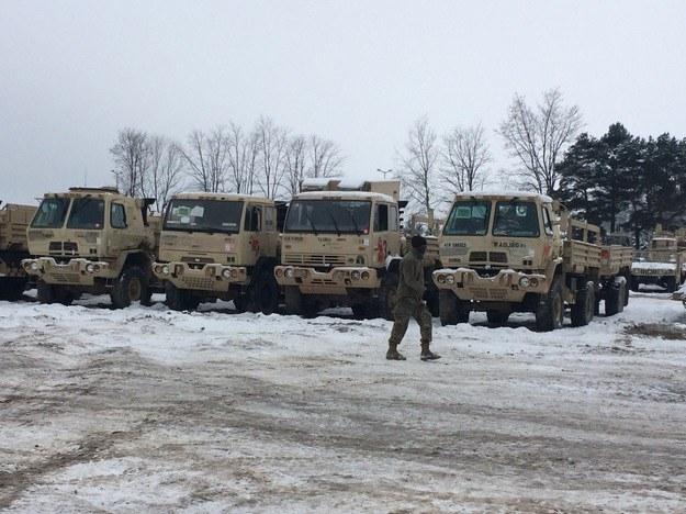 Ciężarówki amerykańskiego wojska w Żaganiu /Adam Górczewski /Archiwum RMF FM