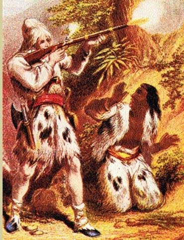 Crusoe i Piętaszek na XIX-wiecznej ilustracji /Encyklopedia Internautica
