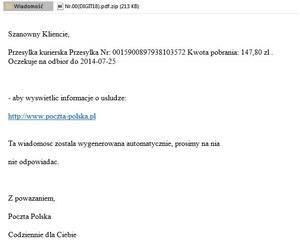 Cyberprzestępcy podszywają się pod Pocztę Polską