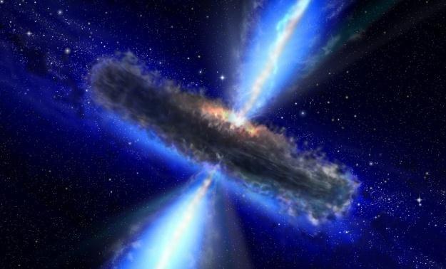 Czarna dziura emitująca błysk promieniowania gamma.   Fot. NASA /materiały prasowe