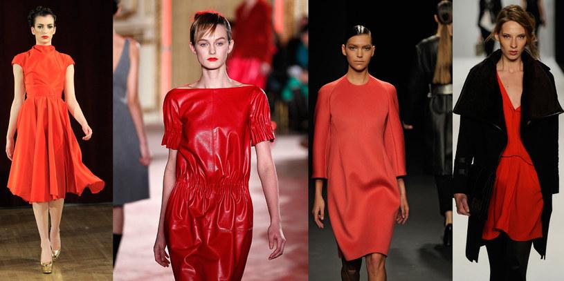 Czerwone sukienki z pokazów Saint Wobil, Thakon, Calvin Klein i Rebecca Mincoff /Getty Images