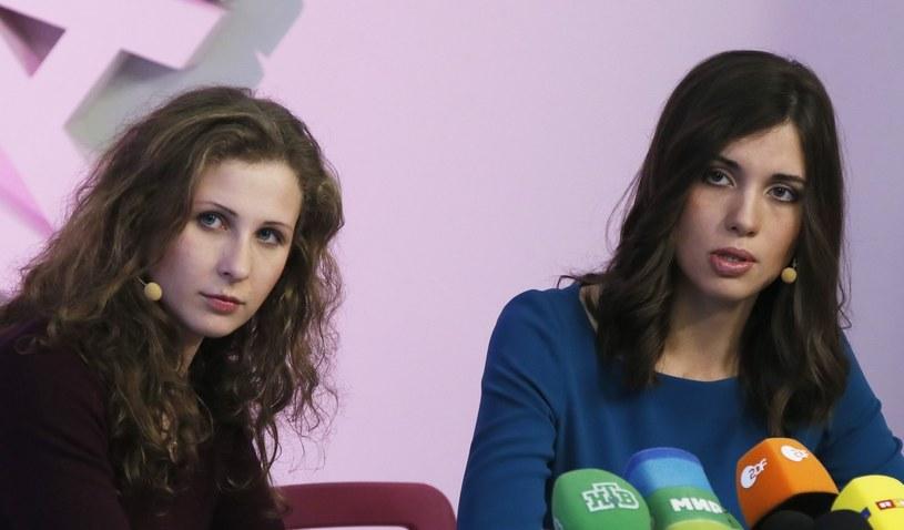 Członkinie Pussy Riot podczas konferencji prasowej /PAP/EPA