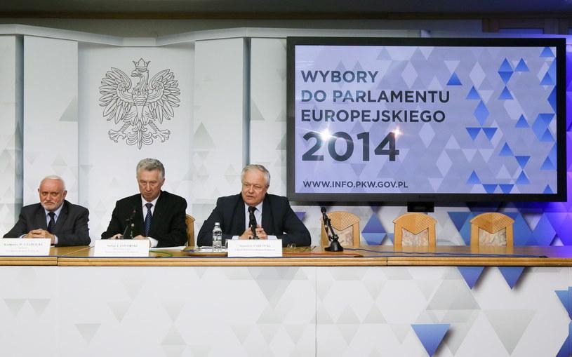 Członkowie PKW podczas konferencji /Paweł Supernak /PAP