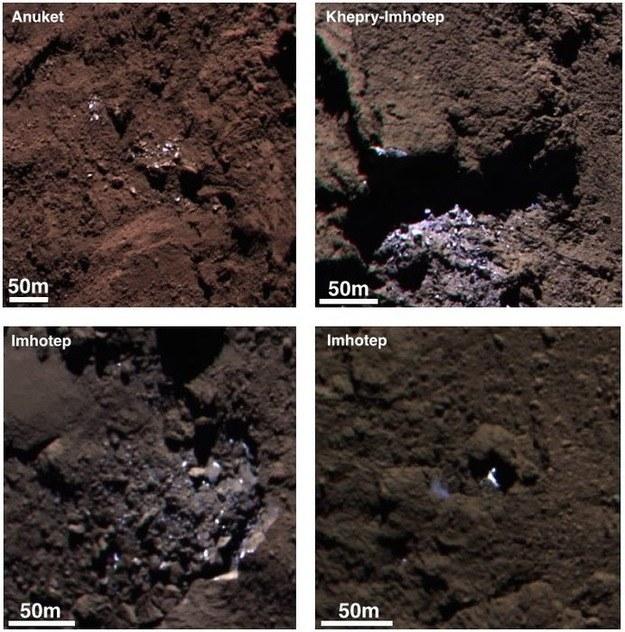 Cztery rejony jądra komety 67P ze śladami lodu na powierzchni /materiały prasowe