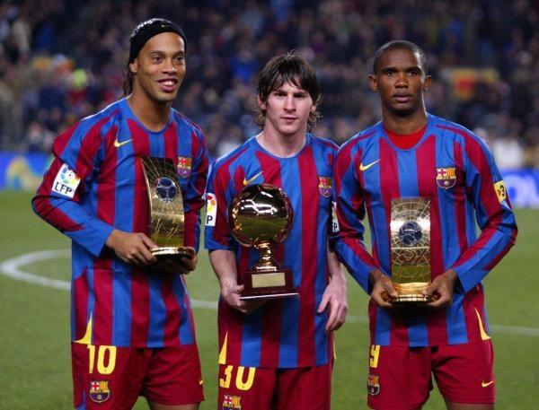 Czy gwiazdy Barcelony zawitają pod Wawel? Od lewej Ronaldinho, Leo Messi i Samuel Eto'o. /AFP