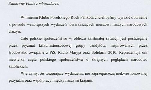 Czytanie z listu partii Janusza do Rosjan /Ruchpalikota.org.pl /INTERIA.PL