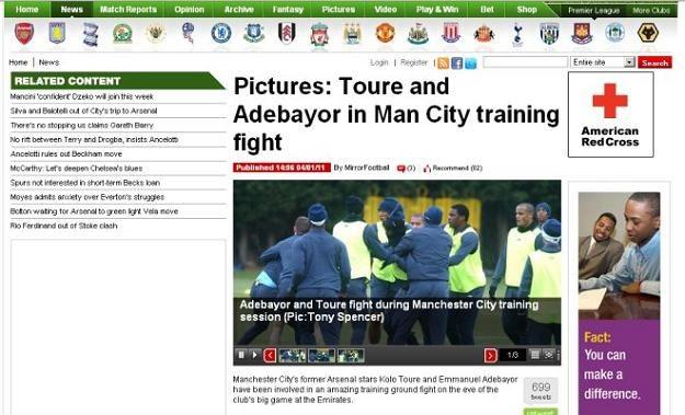 """""""Daily Mirror"""" opublikował na swojej stronie internetowej zdjęcia z bójki piłkarzy Manchesteru City /Internet"""