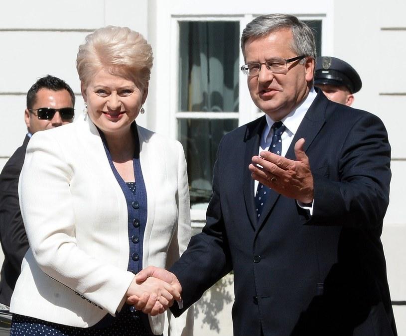 Dalia Grybauskaite i Bronisław Komorowski /AFP