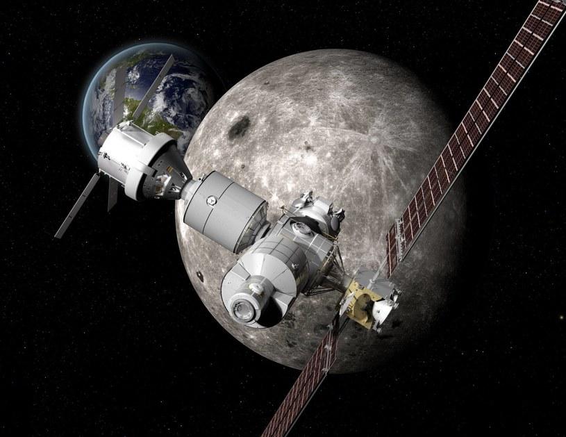 Deep Space Gateway (DSG) będzie orbitującą wokół Księżyca bazą wypadową i serwisową załogowego statku kosmicznego Deep Space Transport (DST) /materiały prasowe