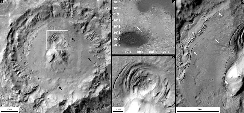 Depresja zlokalizowana na granicy basenu uderzeniowego Hellas mogła zostac utworzona przez aktywność wulkaniczną /NASA
