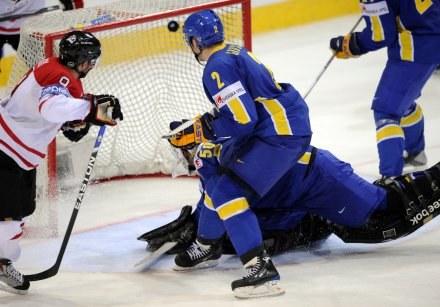 Derek Roy  strzela gola dla Kanady. /AFP