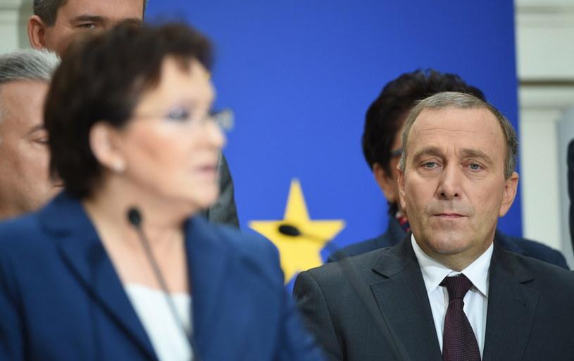 Desygnowana na premiera, marszałek Sejmu Ewa Kopacz i kandydat na ministra spraw zagranicznych Grzegorz Schetyna /Radek Pietruszka /PAP