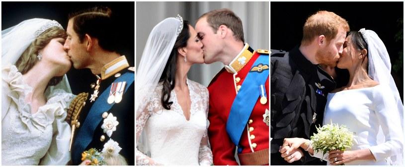 Diana i Karol, Kate i William oraz Meghan i Harry w dniu swoich ślubów /AFP