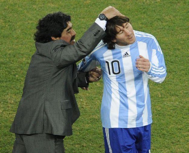 Diego Maradona i Lionel Messi /AFP
