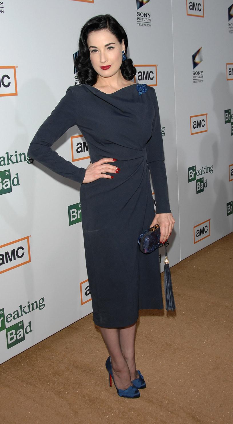 Dita Von Teese w sukni projektu Dawida Wolińskiego  /Getty Images/Flash Press Media