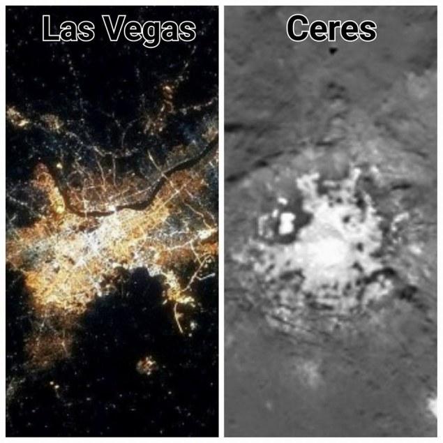 Dla niektórych plamy na Ceres do złudzenia przypominają obrazy ziemskich miast /Innemedium.pl