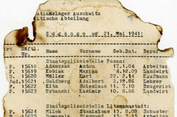 Dokument odnaleziony w II LO w Łodzi /Auschwitz.org /