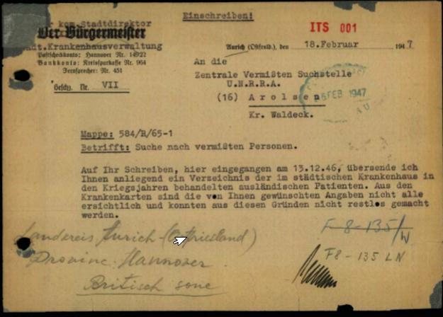 Dokument z 1947 roku adresowany do centrali U.N.R.R.A. /Archiwum prywatne Piotra Janiaka /