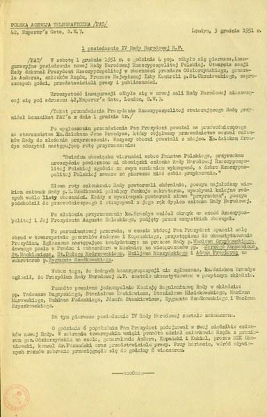 I posiedzenie IV Rady Narodowej RP, Londyn 3 grudnia 1951r.