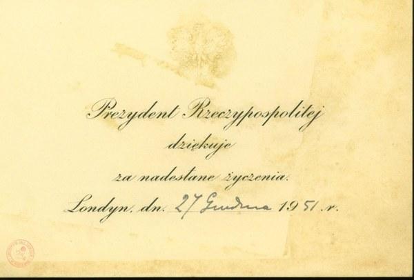 Karta z podziękowaniem za życzenia z podpisem Prezydenta Augusta Zaleskiego, 27 grudnia 1951r.