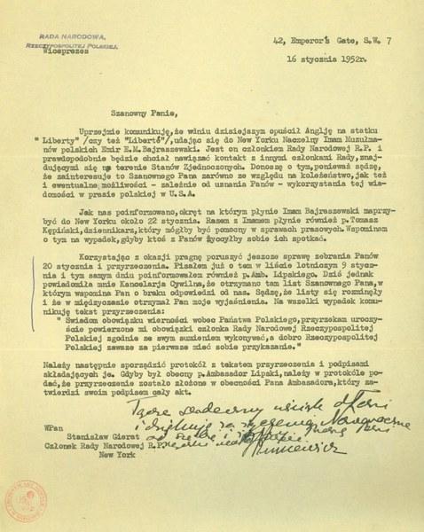 List wiceprezesa IV Rady Narodowej RP do Stanisława Gierata, 16 stycznia 1952r.