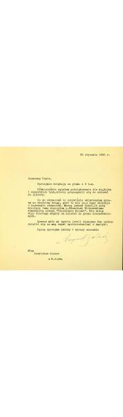List Prezydenta Augusta Zaleskiego do Stanisława Gierata, 25 stycznia 1952 r.